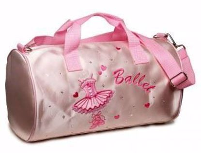 Picture of Girls Pink Satin Ballet Dance Tutu Barrel Bag